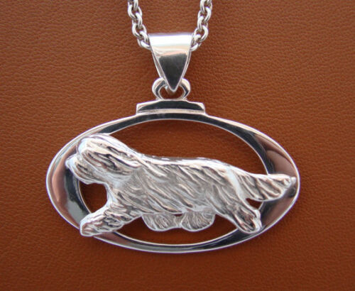 Large Sterling Silver Bearded Collie Moving Study On A Horizontal Oval Frame