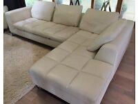 Modern Cream Real Leather L Shape Corner Sofa Chrome Legs - SOLD