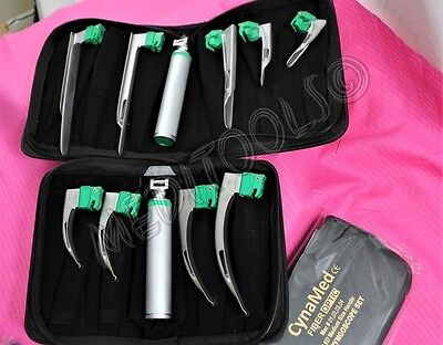New German Grade Fiber Optic Laryngoscope Mac Miller Led Light White Set Of 11