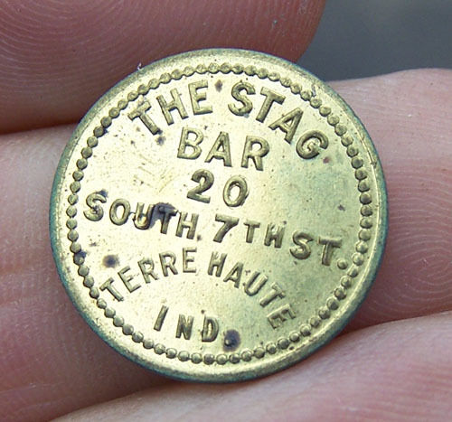 Vintage THE STAG BAR 5 Cent Trade Token TERRE HAUTE INDIANA