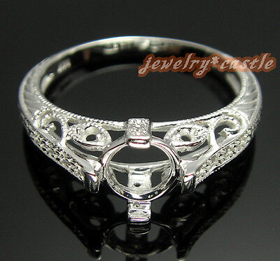 10K WHITE GOLD 6MM VINTAGE ANTIQUE DIAMOND MOUNT SETTING ENGAGE WEDDING RING on Rummage