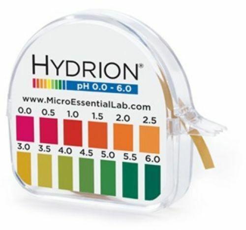 *Hydrion Acid Range 0-6 pH Test Paper Strip Tape Roll Used 4 Kombucha Soap Makin