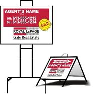 Portable, collapsing, real estate signage