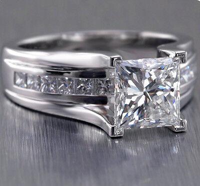 1.90 Ct Solitaire Princess Cut Diamond Engagement Ring w/ Accents E,VS1 GIA