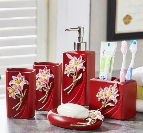 5pcs Red Resin Bathroom Accessories Set