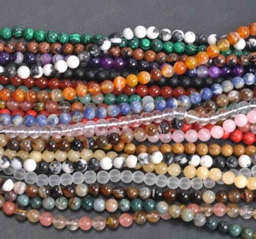 8mm Natural Gemstone Round Spacer Loose Beads Blue Spot Loose Beads Strand