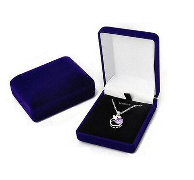 Deluxe BLUE VELVET Pendant Necklace Earring Presentation Jewelry Gift Box