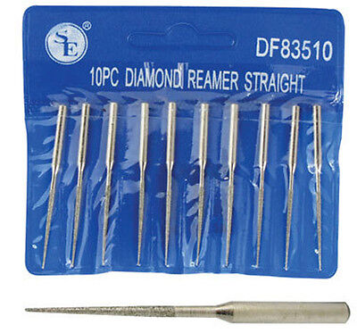"10pc 2"" Tapered Diamond Bead Reamer Set w/ Diamond Coated Tip For Rotary Tool"