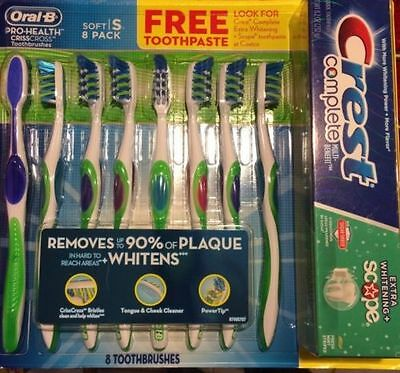 8 Pack Oral-B Pro-Health Toothbrushes~CrissCross Soft + 8.2