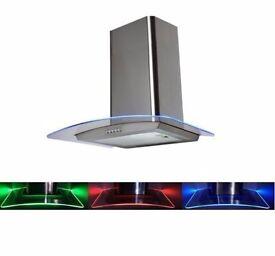 70cm Stainless Steel LED Extractor Fan BLUE GREEN RED Edge Lighting (Graded)
