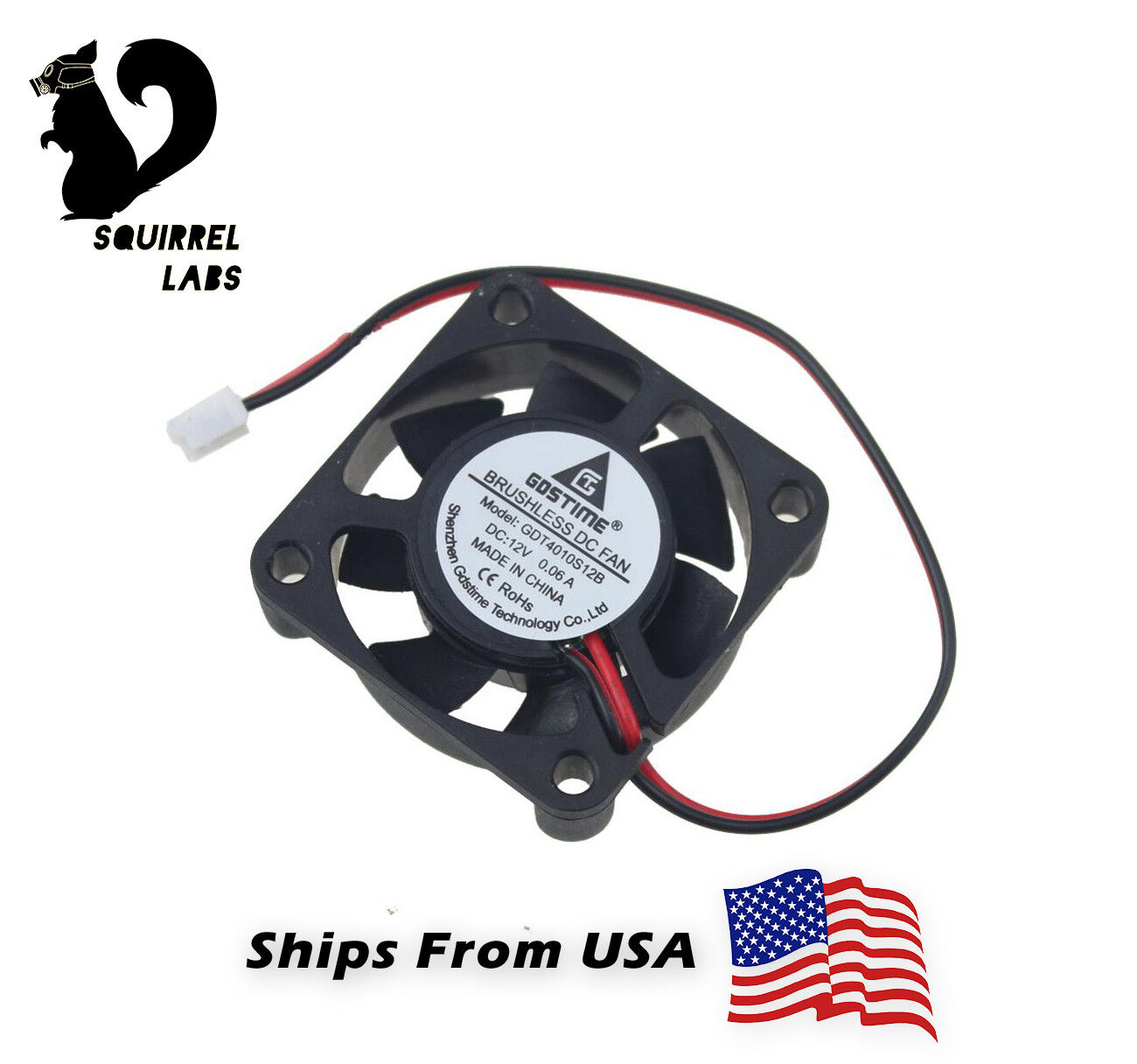 12V Cooling Computer Fan Small 40mm x 10mm DC Brushless 2-pi