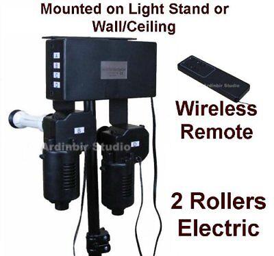 2 Roller Motorized Power Electric Background Backdrop Support Drive System 220V