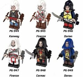 NEW SEALED .ASSASSINS CREED MINI FIGURE SET OF 6 LEGO COMPATIBLE FIGURES .