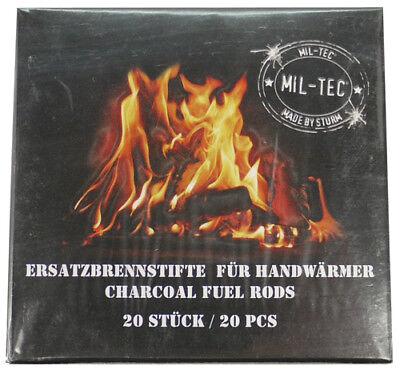20 Stk. BRENNSTÄBE Kohle Ofen Handwärmer Taschenofen Taschenwärmer Brennstab