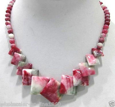 - Pretty Natural Multi-Color Jade Gemstone Round&Square Beads Necklace 17