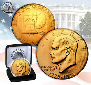 1976 EISENHOWER IKE DOLLAR 24K GOLD PLATED COIN w/ DISPLAY BOX