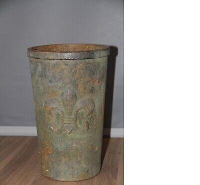 Super Vintage French Cast Iron Garden Vase with Fleur de Lis Antique.Shop Prop..