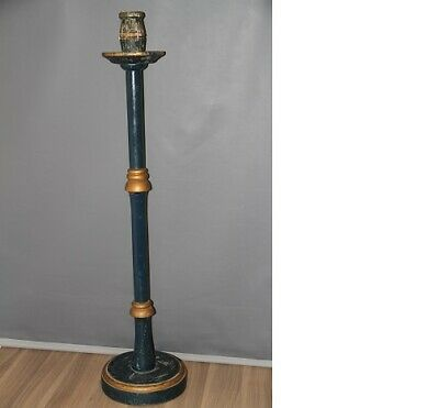VINTAGE EARLY LARGE PAINTED WOODEN CANDLE HOLDER STAND...