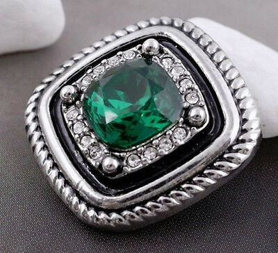 Silver Rope Square Green Rhinestone 20mm Snap Charm Jewelry For Ginger Snaps