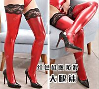 Wetlook Red Lace Top Stockings -  - ebay.co.uk
