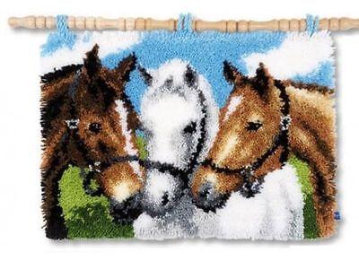 Vervaco Knüpfteppich Tiermotiv drei Pferde 55x38 cm 1 St  KKPN0155741