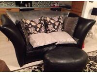 Sofa and armchair set, with matching pouffe