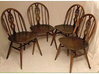 4 ERCOL wheel back wooden dining chairs project