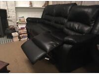 3 Seater Black Leather Sofa - 2 Recliners - Like New, Hardly Used