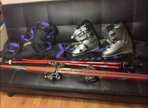 Boots, poles, skis, equipment bags