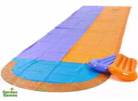 Clearance Garden-Games-4-7m-Double-Racing-Water-Slide-with-2-Boogie-Boards-and-Sprinkler