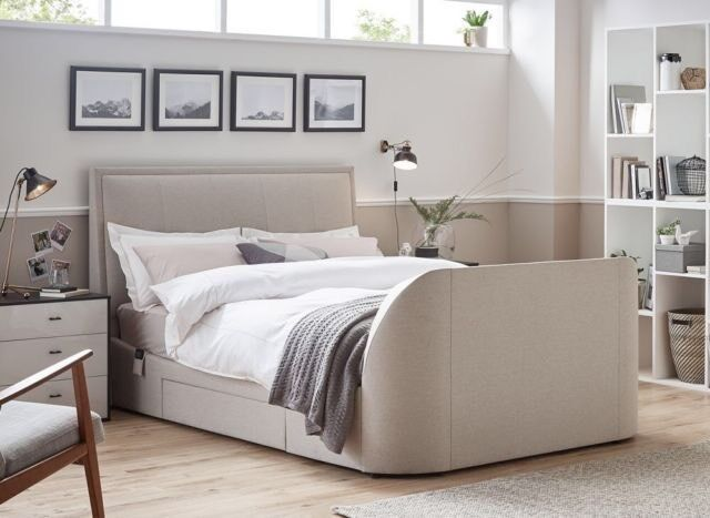 "King Size Alexander Fabric TV Bed with Sound Bar & Bush 32"" TV 