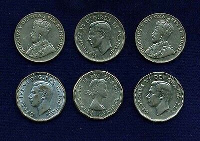 CANADA  5 CENTS COINS: 1934 2, 1941, 1945, 1949, & 1962, GROUP LOT OF 6