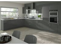 Grey Gloss Kitchen For Sale Only £1095 Complete