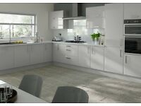 Sleek Stylish Light Grey Gloss Kitchen For Sale £895