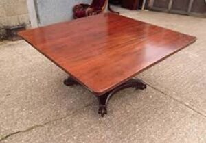 FOR SALE CHERRY FINISH SQUARE DINING TABLE (SEATS 8)