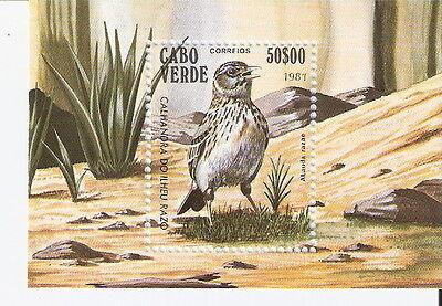 Cape Verde 1981 Birds Lark Souvenir Sheet MNH (SC# 441)