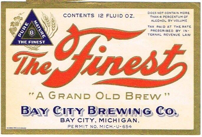 Unused 1930s U-Permit MICHIGAN Bay City THE FINEST BEER 4% 12oz Label