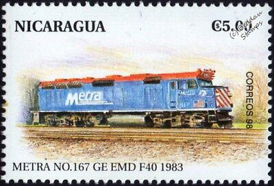 METRA GM EMD Class F40PH No.167 Diesel-Electric Locomotive Train Stamp (USA)