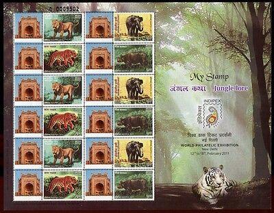 INDIEN INDIA 2011 Tiere INDIPEX Kleinbogen **