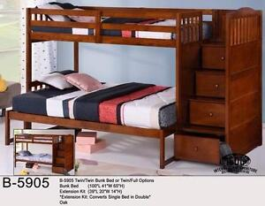 TWIN OVER FULL BUNK BED WITH STAIRCASE AND DRAWERS *MATTRESSES SOLD SEPARATELY