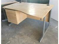20 Senator desks 140 X 80cm beech with drawers. Delivery.