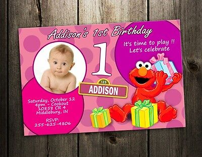 Sesame Street Photo Invitations (ELMO SESAME STREET PARTY INVITATION BIRTHDAY PHOTO BABY CUSTOM INVITE 1ST -)