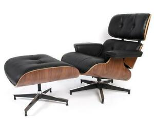 EAMES LOUNGE TOP GRAIN ITALIAN LEATHER ROSEWOOD & WALNUT