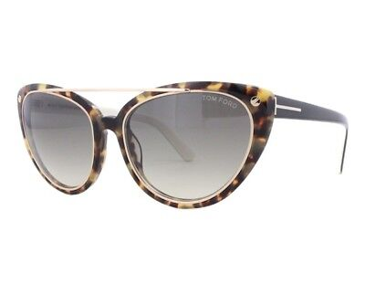 Tom Ford TF 384 56B Edita Havana Cream Smoke Fade Authentic Women Sunglasses