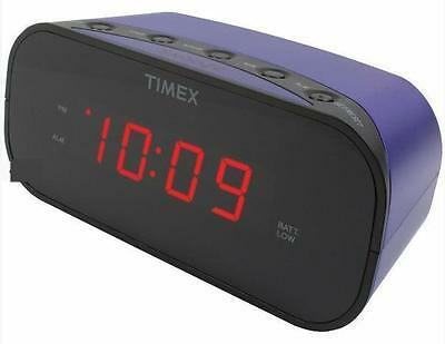 Timex Purple Electric Alarm Clock Battery Backup Soft or Loud Settings US Seller
