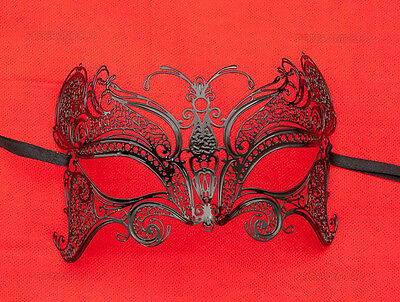 Mask from Venice Wolf Butterfly Luxury Venetian Lace Metal Black 409