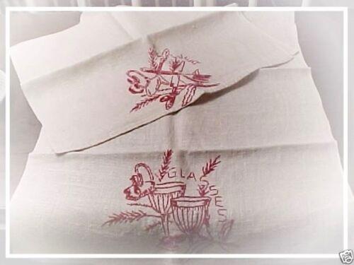 Pair Antique TURKEY RED Hand Embroidered Hemp Linen Tea Vtg Xmas Kitchen Towels