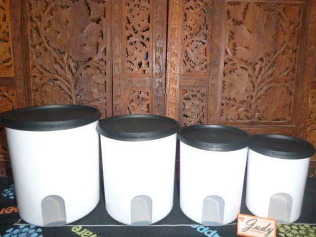 Tupperware 4 White Reminder Canisters + 4 BLACK Seals BRAND NEW = GREAT-GIFT