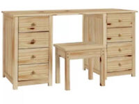 Solid Pine Dressing Table / Desk & Stool RRP £149