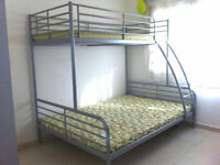 Silver Ikea Triple Sleeper Bunk Beds - Double and Single Beds